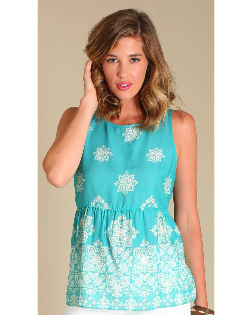 Wrangler Women's Peplum Hem Print Sleeveless Top, Green, hi-res