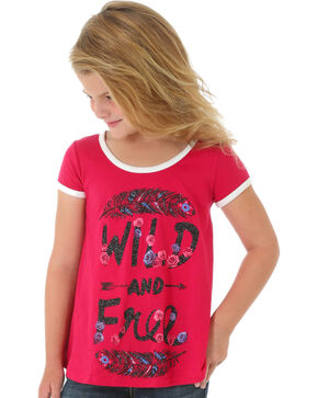 Wrangler Girls' Pink Wild and Free Tee, Pink, hi-res