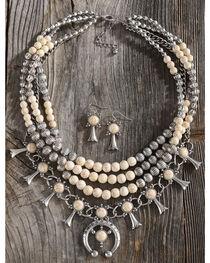 Shyanne Women's Beaded Squash Blossom Necklace Set, , hi-res