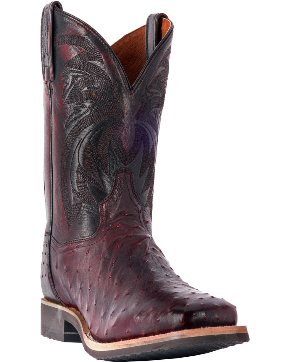 Dan Post Men's Philsgood Black Cherry Full Quill Ostrich Boots- Square Toe, Black Cherry, hi-res
