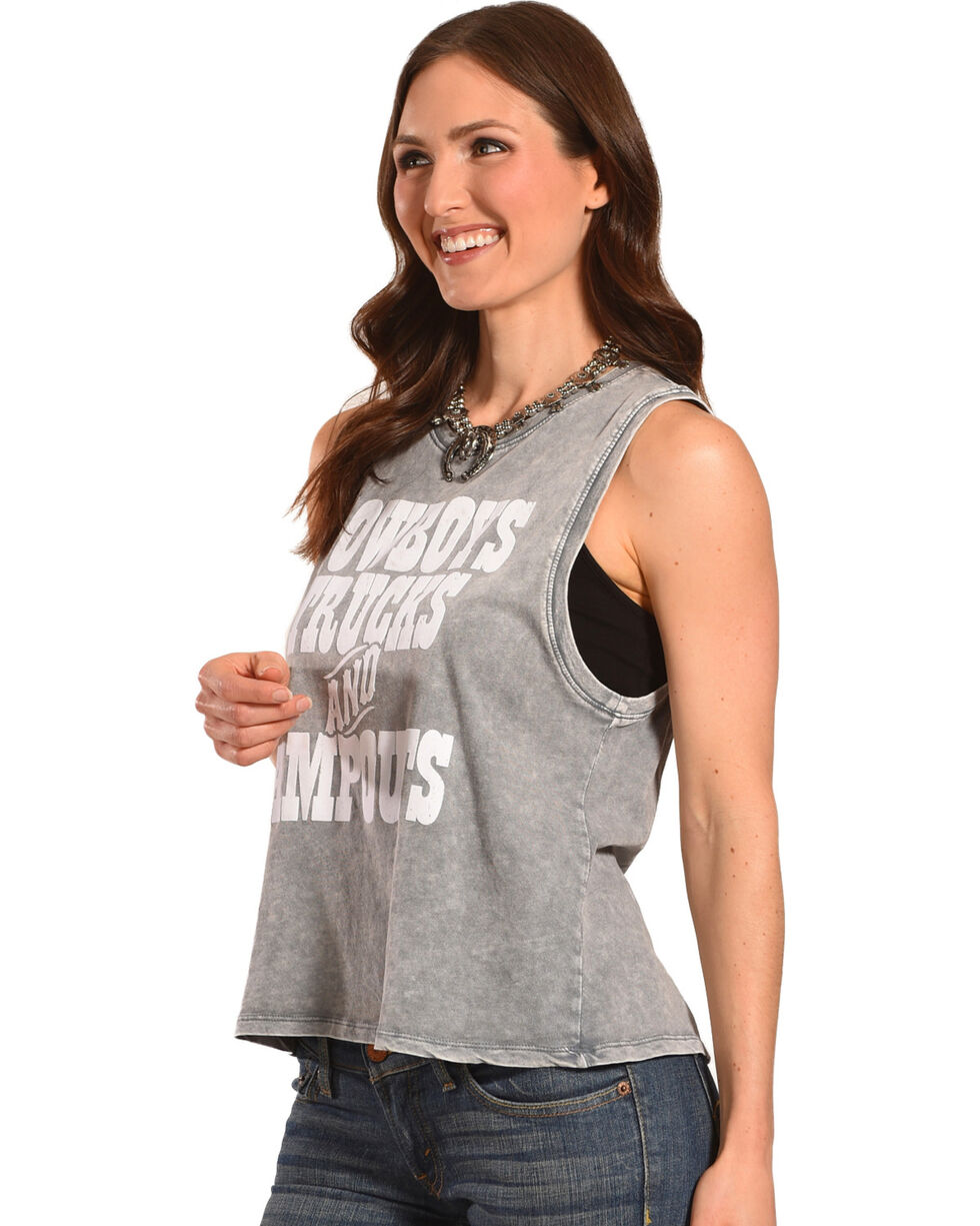 Z Supply Women's Charcoal Cowboys, Trucks, & Campouts Tank , Charcoal, hi-res