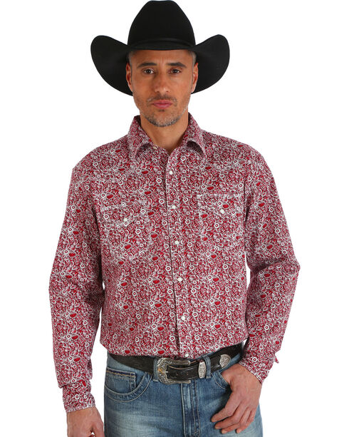 Wrangler Men's 20X Advanced Comfort Paisley Print Shirt - Big and Tall, Red, hi-res