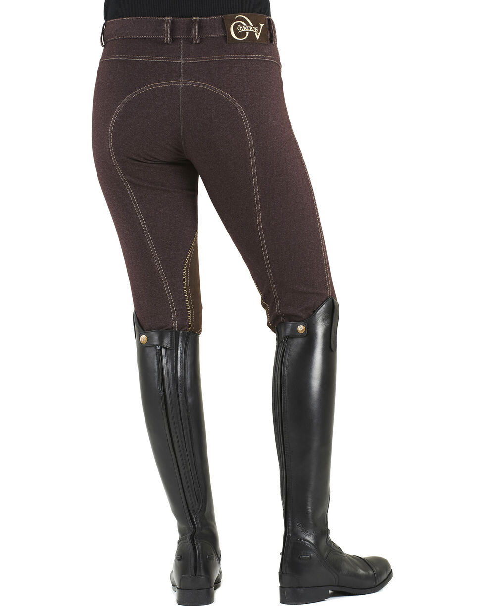 Ovation Women's Euro Jean Zip Front Knee Patch Breeches, Brown, hi-res