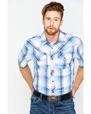 Cody James® Men's Block Plaid Short Sleeve Shirt, Blue, hi-res