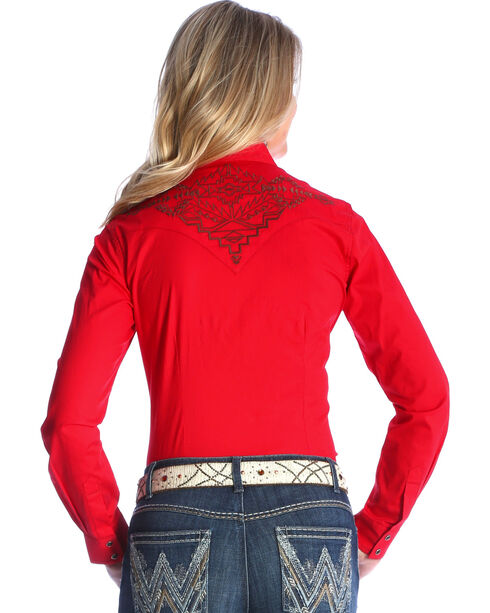 Wrangler Women's Red Solid Aztec Embroidered Shirt , Red, hi-res