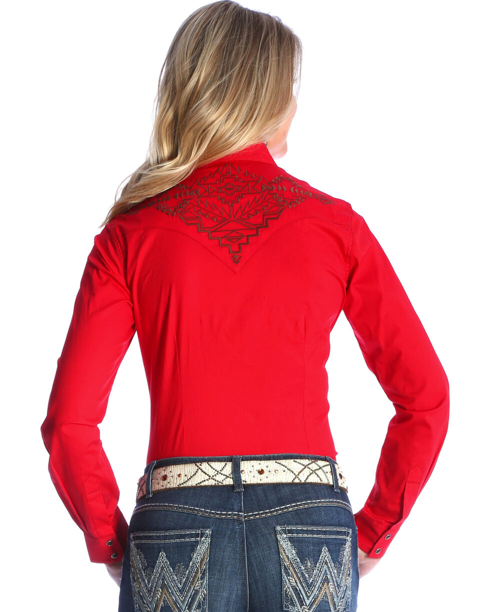 Wrangler Women's Red Solid Aztec Embroidered Shirt , , hi-res