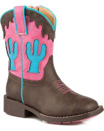 Roper Toddler Girls' Pink and Turquoise Cactus Inlay Cowgirl Boots - Square Toe , Brown, hi-res