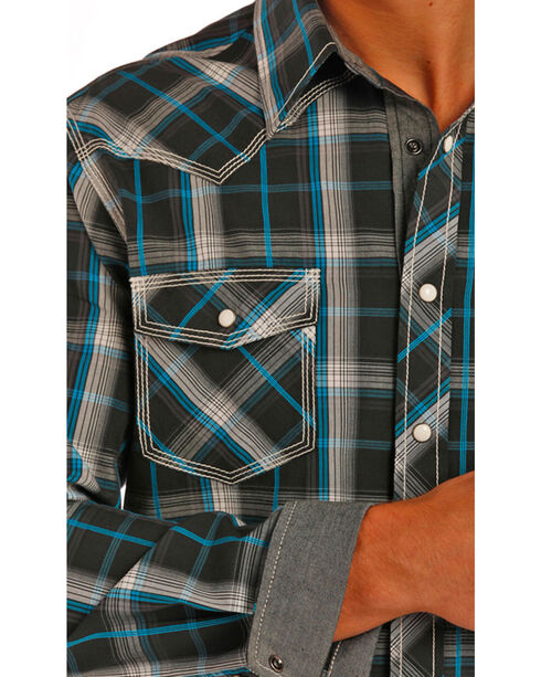 Rock & Roll Cowboy Men's Long Sleeve Snap Button Down Shirt, Black, hi-res