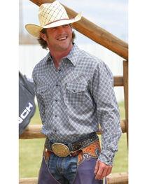 Cinch Men's Diamond Patterned Long Sleeve Shirt, , hi-res