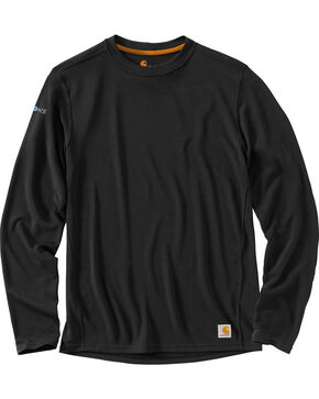 Carhartt Men's Base Force Cool Weather Crewneck Top, Black, hi-res