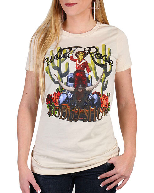 Rodeo Quincy Women's Wild Rose T-Shirt , White, hi-res