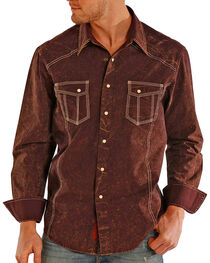 Rock & Roll Cowboy Men's Solid Double Stitched Long Sleeve Shirt, , hi-res