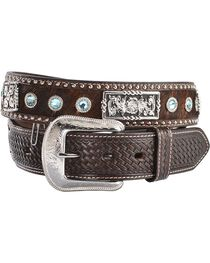 3D Fancy Concho & Rhinestone Hair-on-Hide Western Belt, , hi-res
