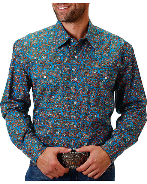 Roper Men's Paisley Printed Long Sleeve Shirt, Blue, hi-res