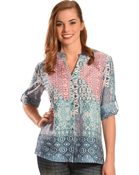 Tantrums Women's Multi-Print Y-Neck Top , Multi, hi-res