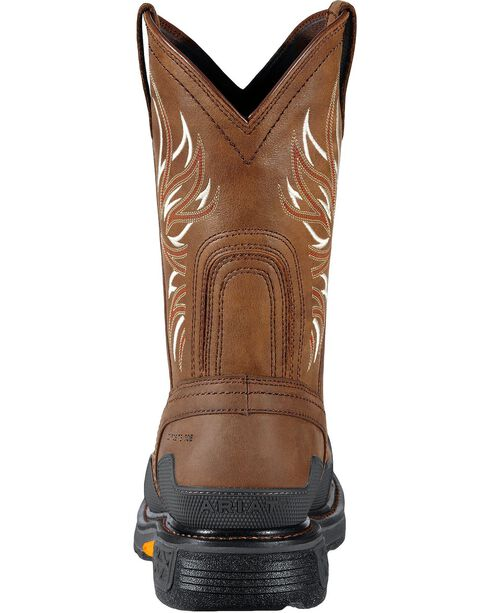 Ariat Overdrive Pull-On Work Boots - Composition Toe, Brown, hi-res