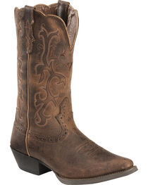 Justin Distressed Puma Cowhide Stampede Cowgirl Boots - Snip Toe, , hi-res