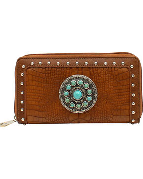 Blazin Roxx Charlotte Collection Croc Concho Wallet, Brown, hi-res