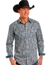 Rough Stock by Panhandle Men's Paisley Western Long Sleeve Shirt, , hi-res