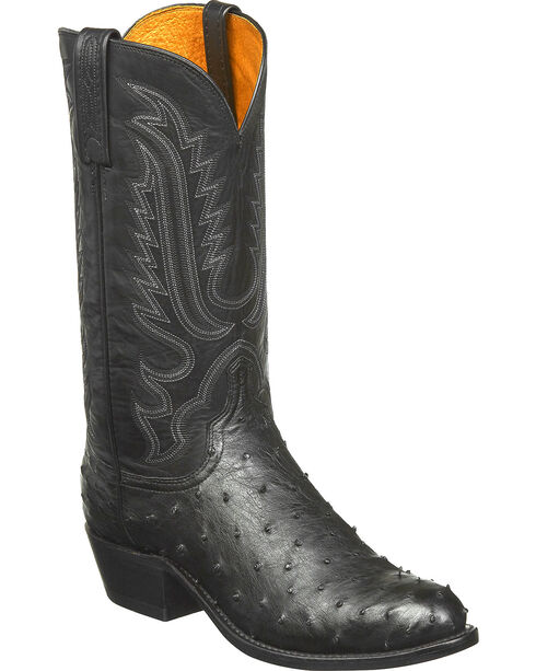 Lucchese Men's Luke Full Quill Ostrich Western Boots - Round Toe, Black, hi-res