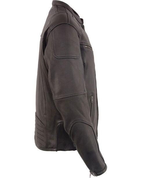 Milwaukee Leather Men's Black Cool Tec Leather Scooter Jacket , Black, hi-res