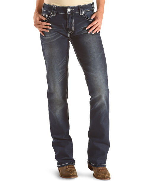 Rock & Roll Cowgirl Women's Blue Boyfriend Jeans - Boot Cut , Dark Blue, hi-res