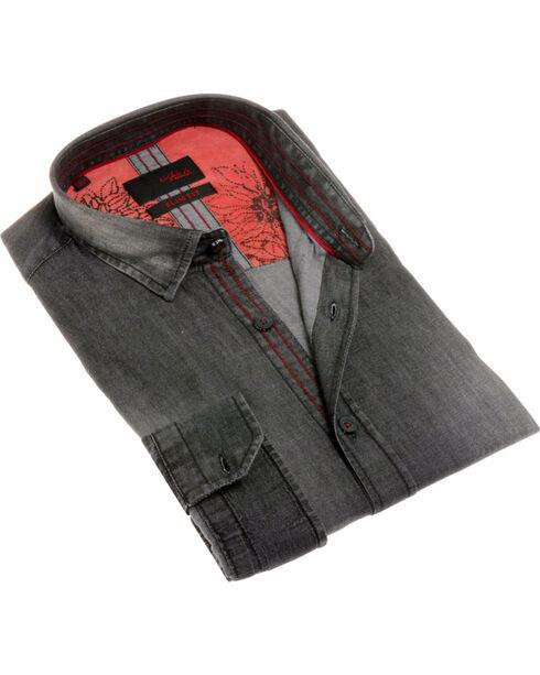 Eight X Men's Grey Denim Shirt , Grey, hi-res