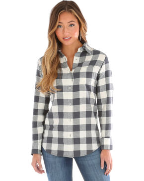 Wrangler Women's Large Check Flannel, Cream, hi-res