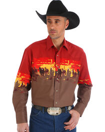 Wrangler Men's Rust Checotah Horses Western Shirt , , hi-res