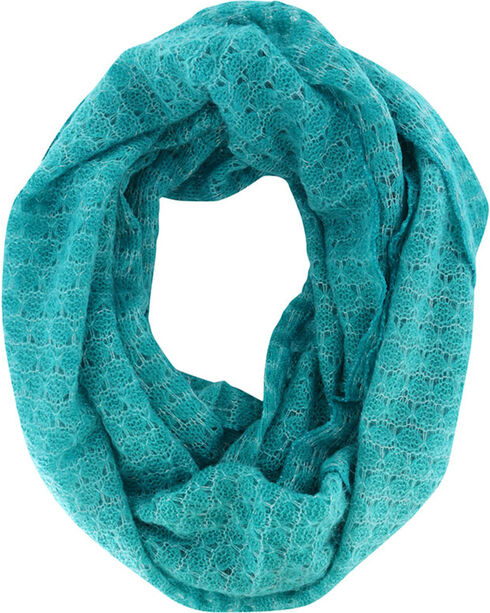 Shyanne® Women's Glitter Infinity Scarf, Turquoise, hi-res