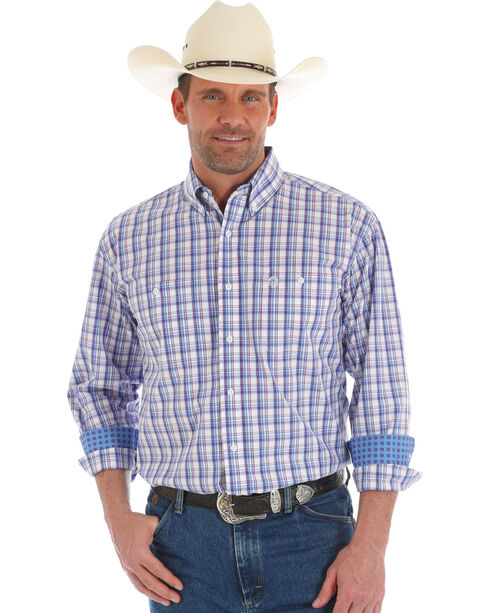 Wrangler George Strait Men's Plaid Long Sleeve Button Down Shirt - Tall, Blue, hi-res
