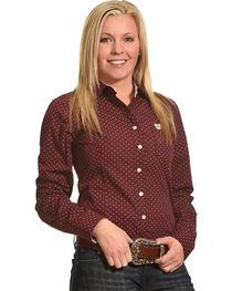 Shyanne Women's Geo Print Long Sleeve Western Shirt, Burgundy, hi-res