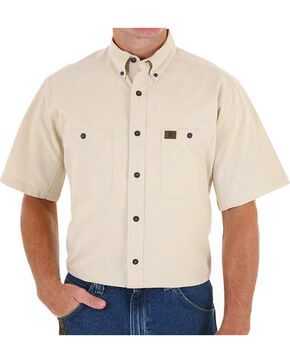 Wrangler Men's Natural Riggs Workwear Chambray Work Shirt, Natural, hi-res