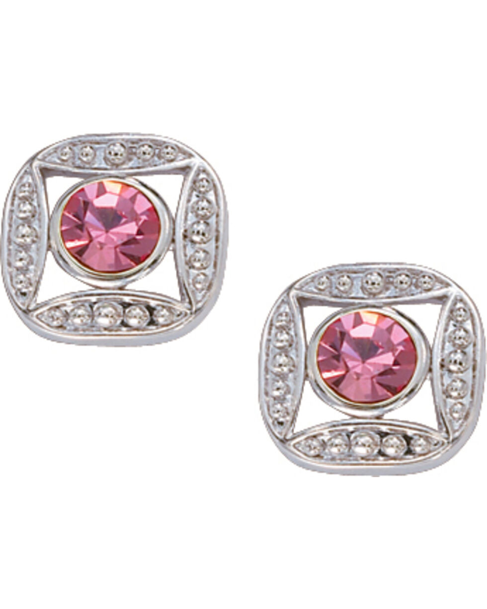 Montana Silversmiths Women's Pink Rhinestone Earrings, Silver, hi-res