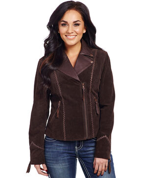 Cripple Creek Women's Hand-Laced Asymmetric Front Jacket, Mocha, hi-res