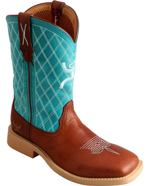 Twisted X HOOey Kids' Quilted Western Boots, Cognac, hi-res