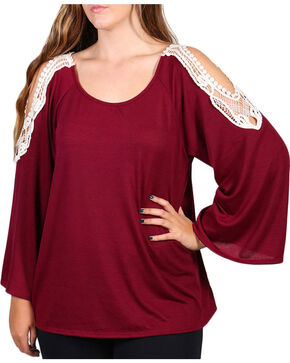 Forgotten Grace Women's Plus Size Cold Shoulder Long Sleeve Top, Burgundy, hi-res