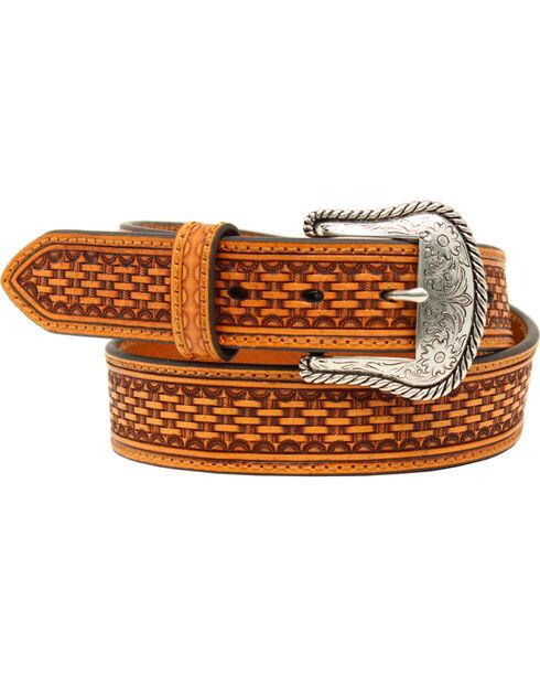 Nocona Belt Co Men's Embossed Leather Belt, Tan, hi-res