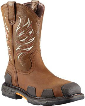 Ariat Overdrive Pull-On Work Boots - Composite Toe, Brown, hi-res