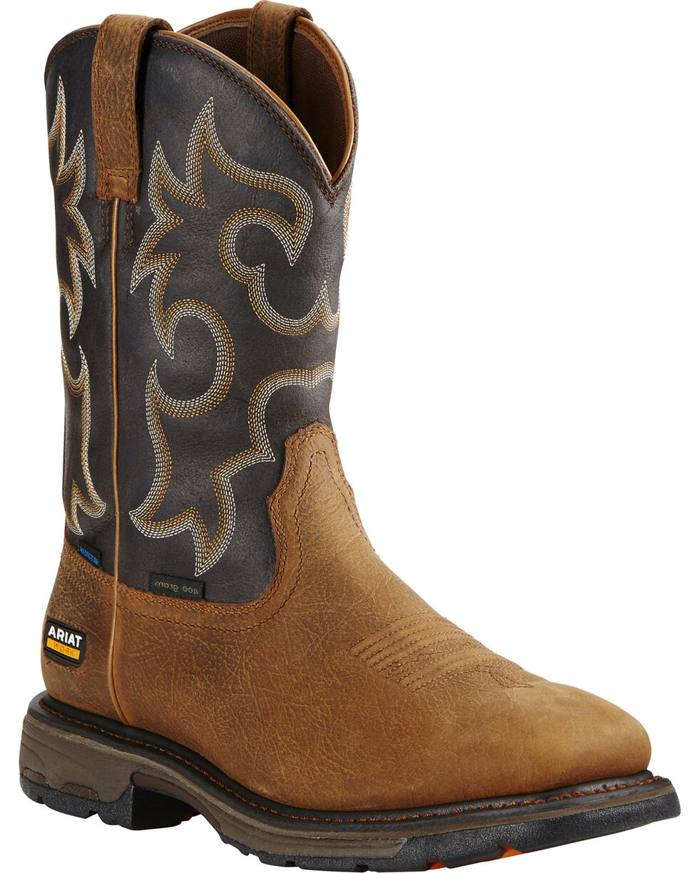 Ariat Workhog H2O 400g Western Work Boots, Brown, hi-res