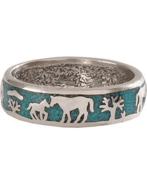 Silver Legends Women's Turquoise Horse and Foal Band Ring , , hi-res