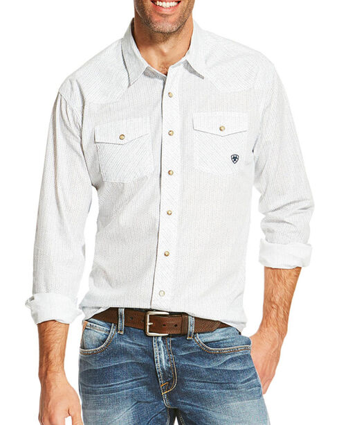 Ariat Men's Ularic Retro Long Sleeve Shirt, White, hi-res