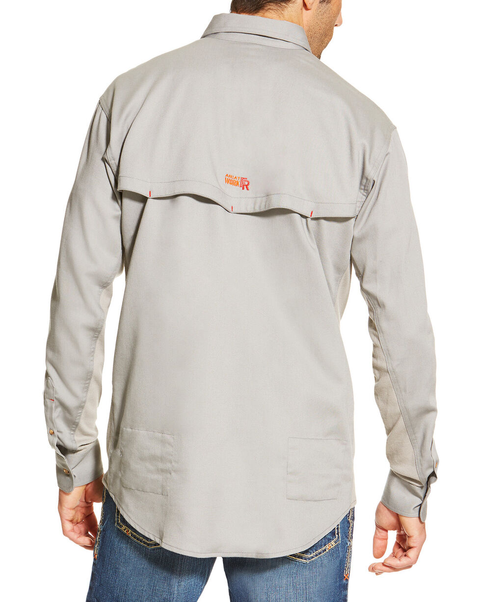 Ariat Men's Fire Resistant Solid Vent Long Sleeve Work Shirt, Silver, hi-res