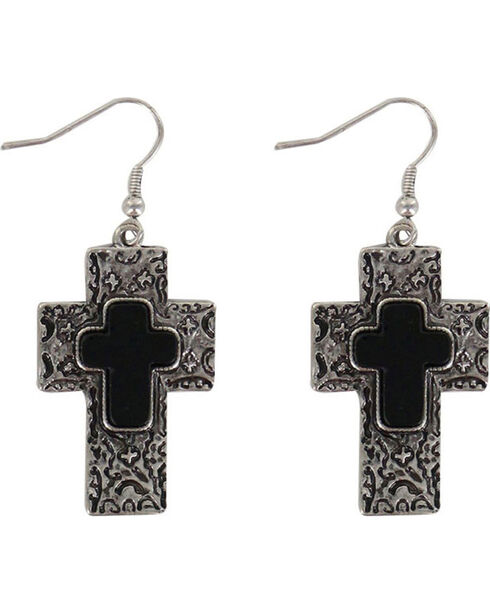 Shyanne® Women's Engraved Cross Earrings, Silver, hi-res