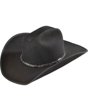 Justin Bent Rail 7X Dagger Black Fur Felt Cowboy Hat, Black, hi-res