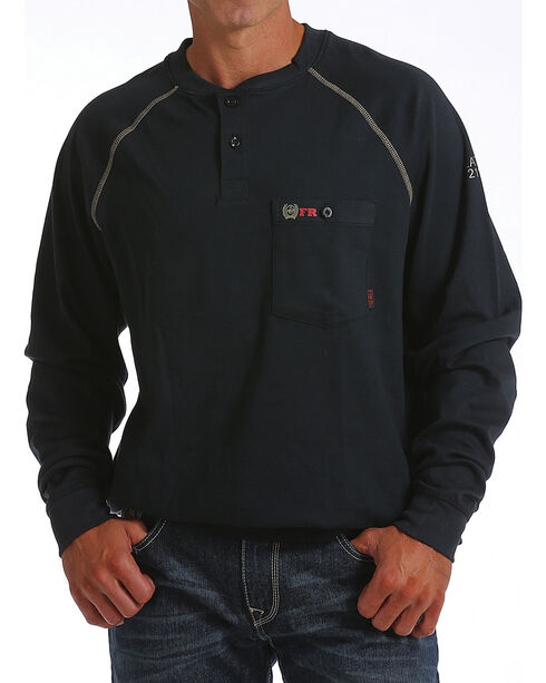 Cinch WRX Men's Black Long Sleeve FR Raglan Henley Shirt, Black, hi-res