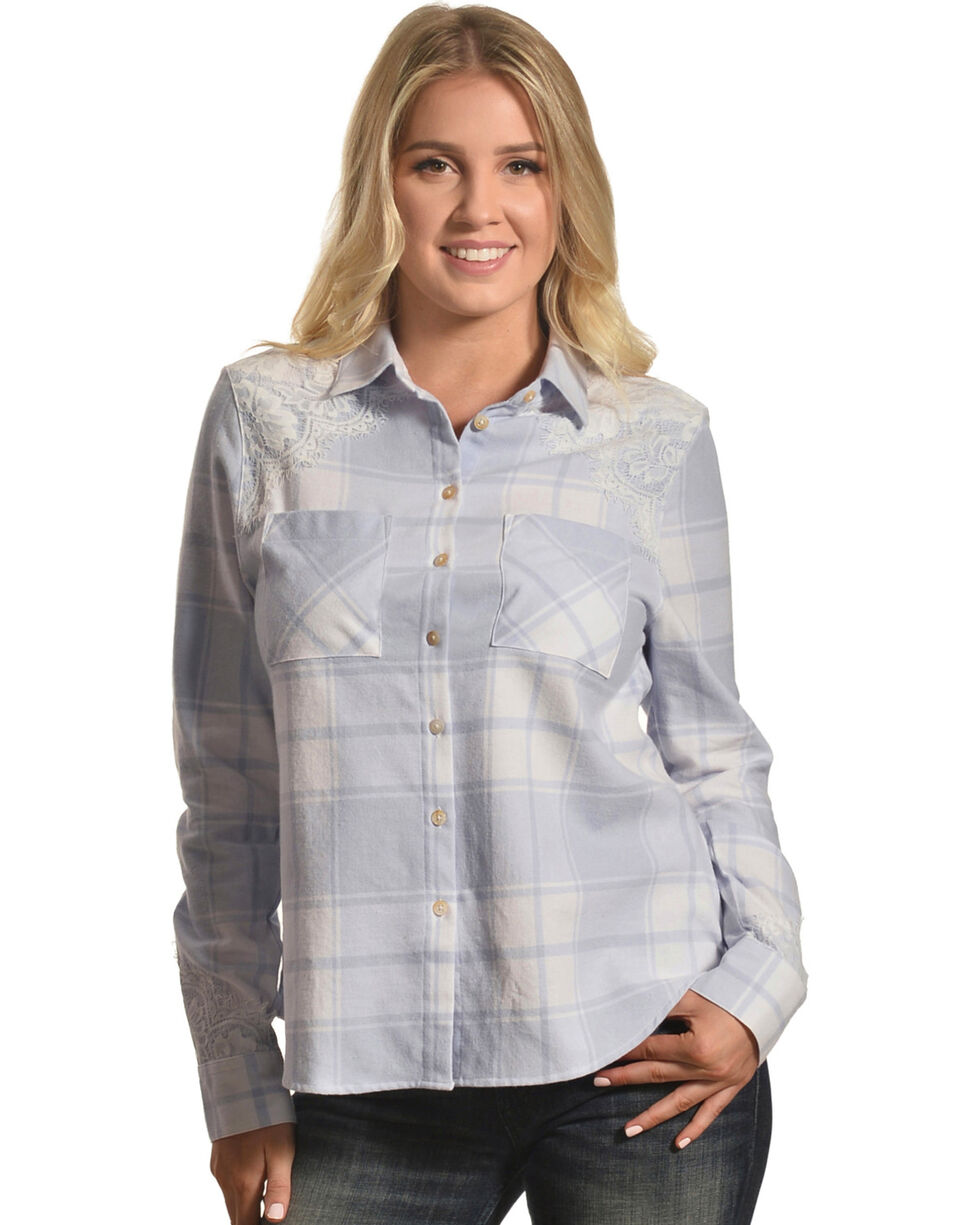 Shyanne Women's Lace Overlay Plaid Flannel Shirt, Multi, hi-res