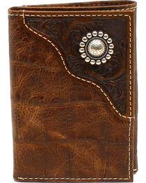 Ariat Men's Tri-Fold Floral Emobossed Overlay Large Concho Wallet, , hi-res