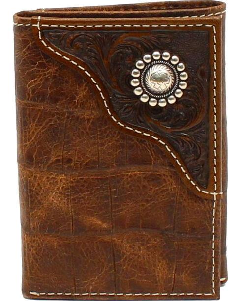 Ariat Men's Tri-Fold Floral Emobossed Overlay Large Concho Wallet, Brown, hi-res