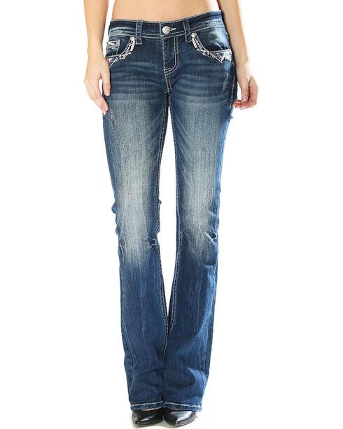 Grace in LA Women's Zig Zag Pocket Jeans - Boot Cut, Indigo, hi-res